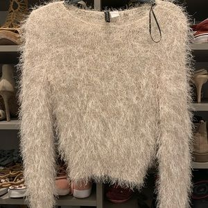 Women's cream shag sweater with tinsel features